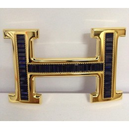 Hermes Belt 18k Gold With Blue Diamonds H Buckle