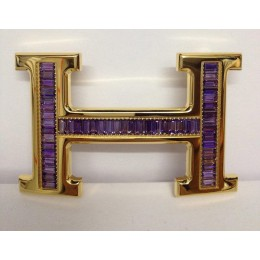 Hermes Belt 18k Gold With Purple Diamonds H Buckle