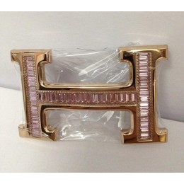 Hermes Belt 18k Rose Gold With Pink Diamonds H Buckle