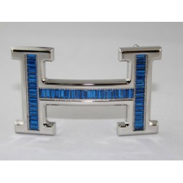 Hermes Belt 18k Silver With Blue Diamonds H Buckle