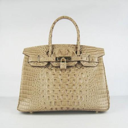 80900fa91919 Hermes Birkin 30cm Crocodile Head Stripe Handbags Apricot Gold ...