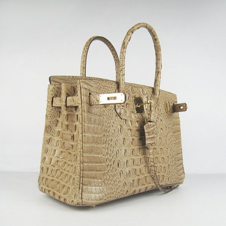 e3d25e16db ... Hermes Birkin 30Cm Crocodile Head Stripe Handbags Apricot Gold ...