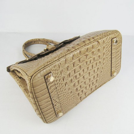 Hermes Birkin 30Cm Crocodile Head Stripe Handbags Apricot Gold