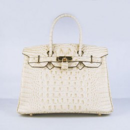 Hermes Birkin 30Cm Crocodile Head Stripe Handbags Beige Gold