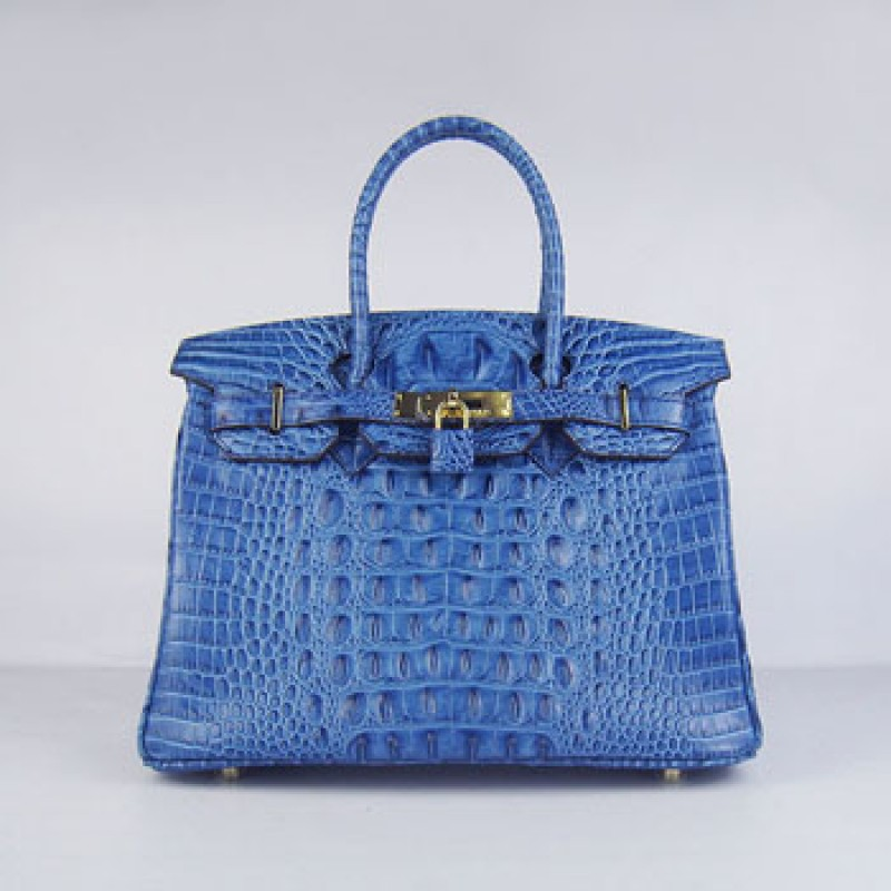 602a38f0c5 Hermes Birkin 30cm Crocodile Head Stripe Handbags Dark Blue Gold ...