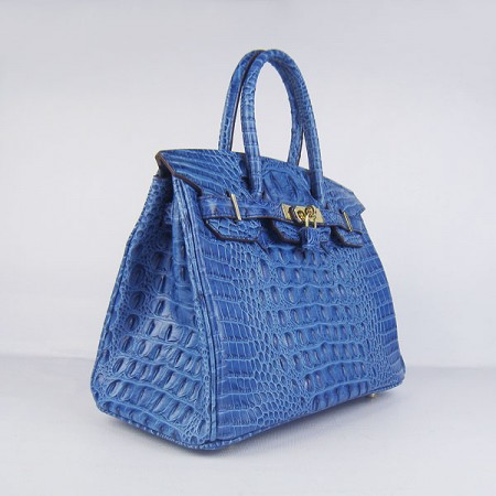 Hermes Birkin 30Cm Crocodile Head Stripe Handbags Dark Blue Gold