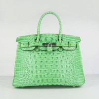 Hermes Birkin 30Cm Crocodile Head Stripe Handbags Green Silver