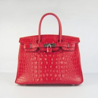 Hermes Birkin 30Cm Crocodile Head Stripe Handbags Red Silver