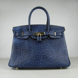 Hermes Birkin 30Cm Ostrich Stripe Handbags Dark Blue Gold