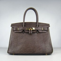 Hermes Birkin 30Cm Ostrich Stripe Handbags Dark Coffee Gold