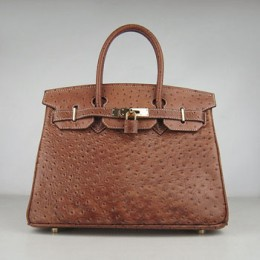 Hermes Birkin 30Cm Ostrich Stripe Handbags Chocolate Gold