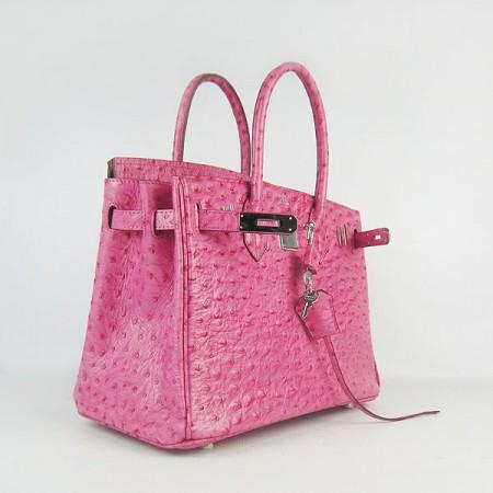 53a62e008475 Hermes Birkin 30cm Ostrich Stripe Handbags Rose Silver For Sale