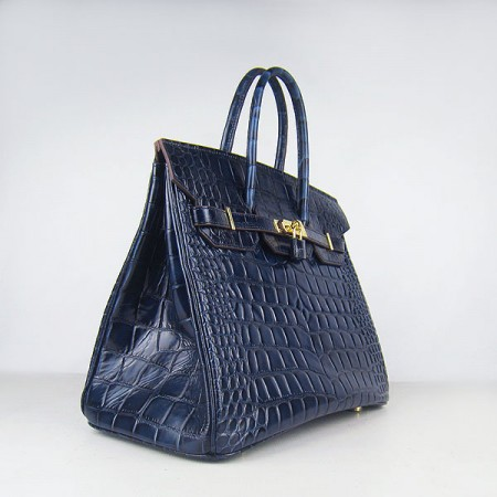 ead46a4f76 ... Hermes Birkin 35Cm Crocodile Big Stripe Handbags Dark Blue Gold ...
