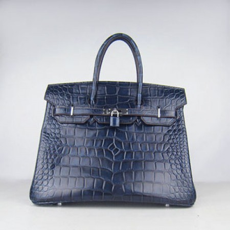 0057bb126c Replica Hermes Birkin 35cm Crocodile Big Stripe Handbags Dark Blue ...