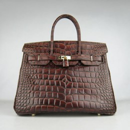 Hermes Birkin 35Cm Crocodile Big Stripe Handbags Dark Coffee Gold