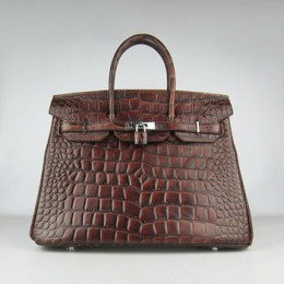 Hermes Birkin 35Cm Crocodile Big Stripe Handbags Dark Coffee Silv
