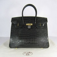 Hermes Birkin 35Cm Crocodile Stripe Handbags Black Gold