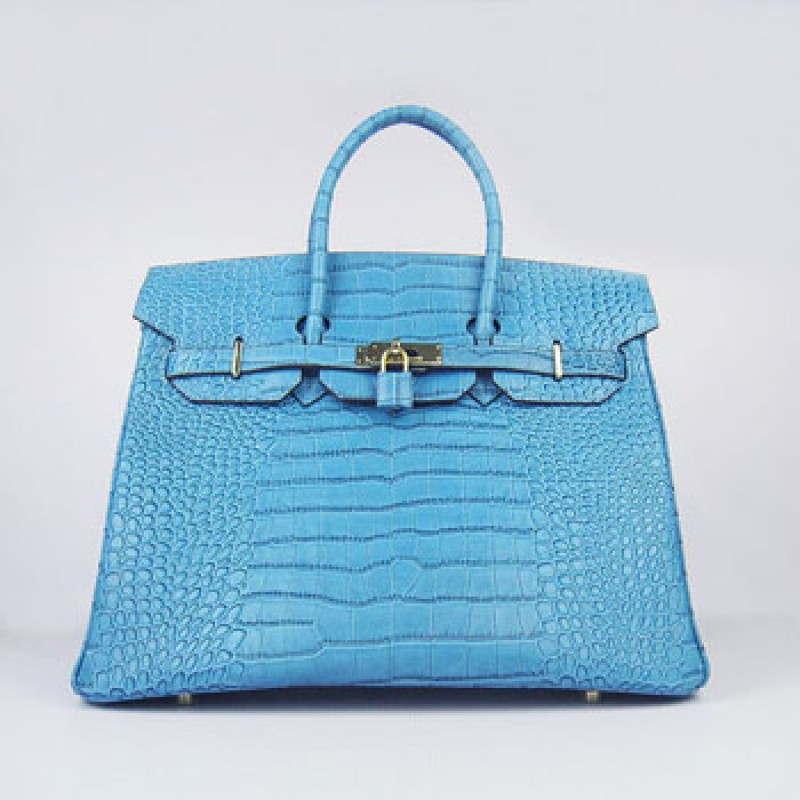 f76676a21d Replica Hermes Birkin 35cm Crocodile Stripe Handbags Blue Gold