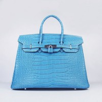 Hermes Birkin 35Cm Crocodile Stripe Handbags Blue Silver