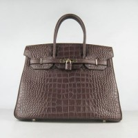 Hermes Birkin 35Cm Crocodile Stripe Handbags Dark Coffee Gold
