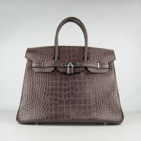 Hermes Birkin 35Cm Crocodile Stripe Handbags Dark Coffee Silver