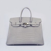 Hermes Birkin 35Cm Crocodile Stripe Handbags Grey Gold