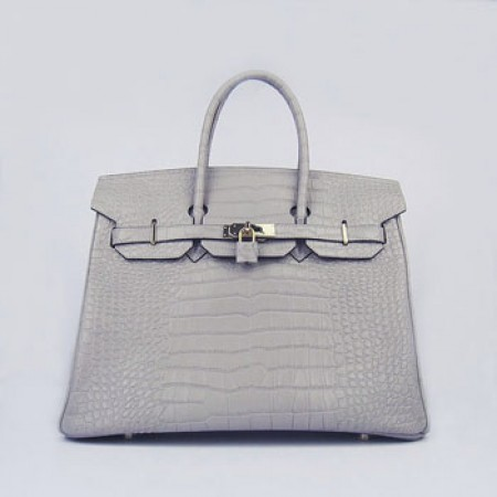 Replica Hermes Birkin 35cm Crocodile Stripe Handbags Grey Gold 41b9932af08bf
