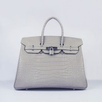 Hermes Birkin 35Cm Crocodile Stripe Handbags Grey Silver