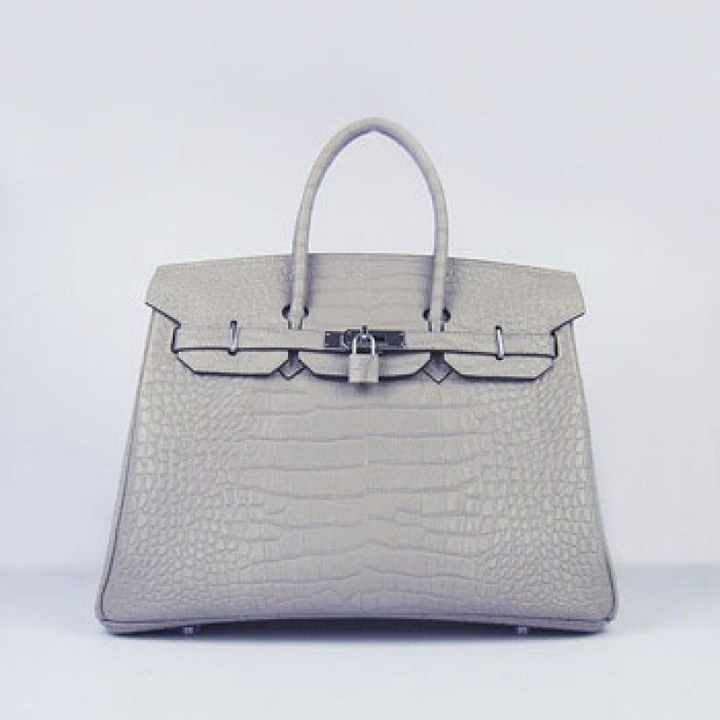 aa24727b60 Replica Hermes Birkin 35cm Crocodile Stripe Handbags Grey Silver