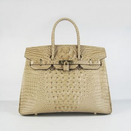 Hermes Birkin 35Cm Crocodile Head Stripe Handbags Apricot Gold