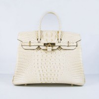 Hermes Birkin 35Cm Crocodile Head Stripe Handbags Beige Gold