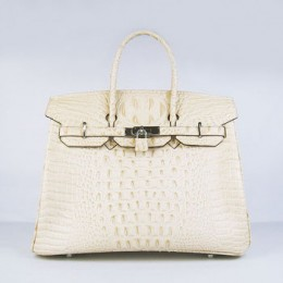Hermes Birkin 35Cm Crocodile Head Stripe Handbags Beige Silver