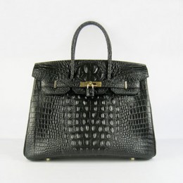 Hermes Birkin 35Cm Crocodile Head Stripe Handbags Black Gold