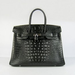 Hermes Birkin 35Cm Crocodile Head Stripe Handbags Black Silver