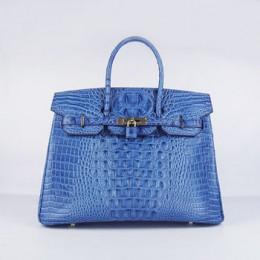 Hermes Birkin 35Cm Crocodile Head Stripe Handbags Dark Blue Golde
