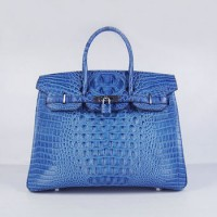 Hermes Birkin 35Cm Crocodile Head Stripe Handbags Dark Blue Silve