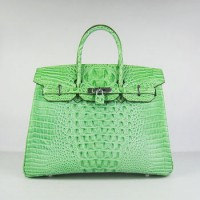 Hermes Birkin 35Cm Crocodile Head Stripe Handbags Green Silver