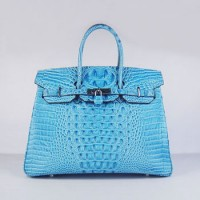 Hermes Birkin 35Cm Crocodile Head Stripe Handbags Light Blue Silv