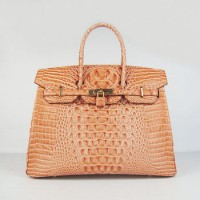 Hermes Birkin 35Cm Crocodile Head Stripe Handbags Orange Gold