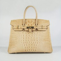 Hermes Birkin 35Cm Crocodile Head Stripe Handbags Ocher Gold