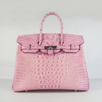 Hermes Birkin 35Cm Crocodile Head Stripe Handbags Pink Silver