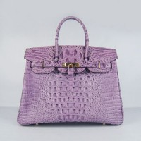 Hermes Birkin 35Cm Crocodile Head Stripe Handbags Purple Gold