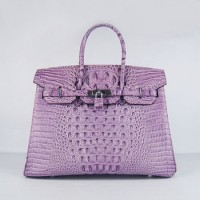 Hermes Birkin 35Cm Crocodile Head Stripe Handbags Purple Silver
