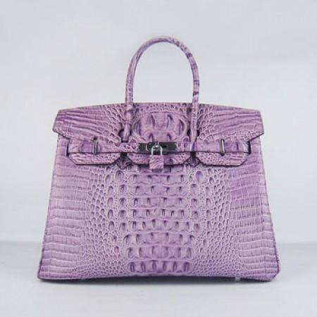 06ef675c45 Replica Hermes Birkin 35cm Crocodile Head Stripe Handbags Purple Silver