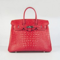 Hermes Birkin 35Cm Crocodile Head Stripe Handbags Red Silver