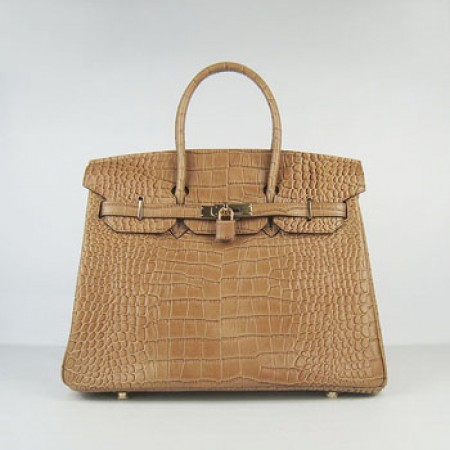 Hermes Birkin 35Cm Crocodile Stripe Handbags Light Coffee Gold