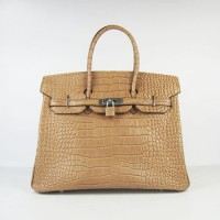 Hermes Birkin 35Cm Crocodile Stripe Handbags Light Coffee Silver