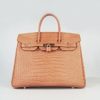 Hermes Birkin 35Cm Crocodile Stripe Handbags Orange Gold