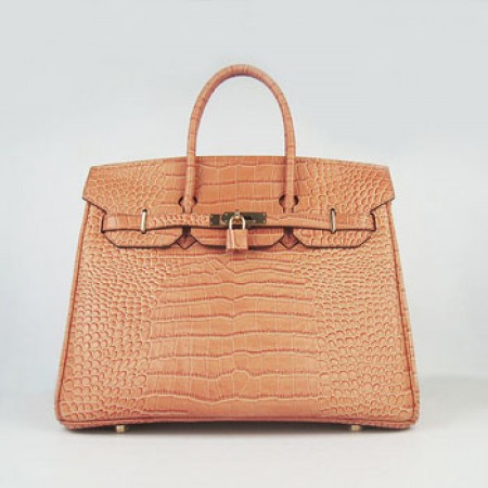 3914d8bb65 Replica Hermes Birkin 35cm Crocodile Stripe Handbags Orange Gold