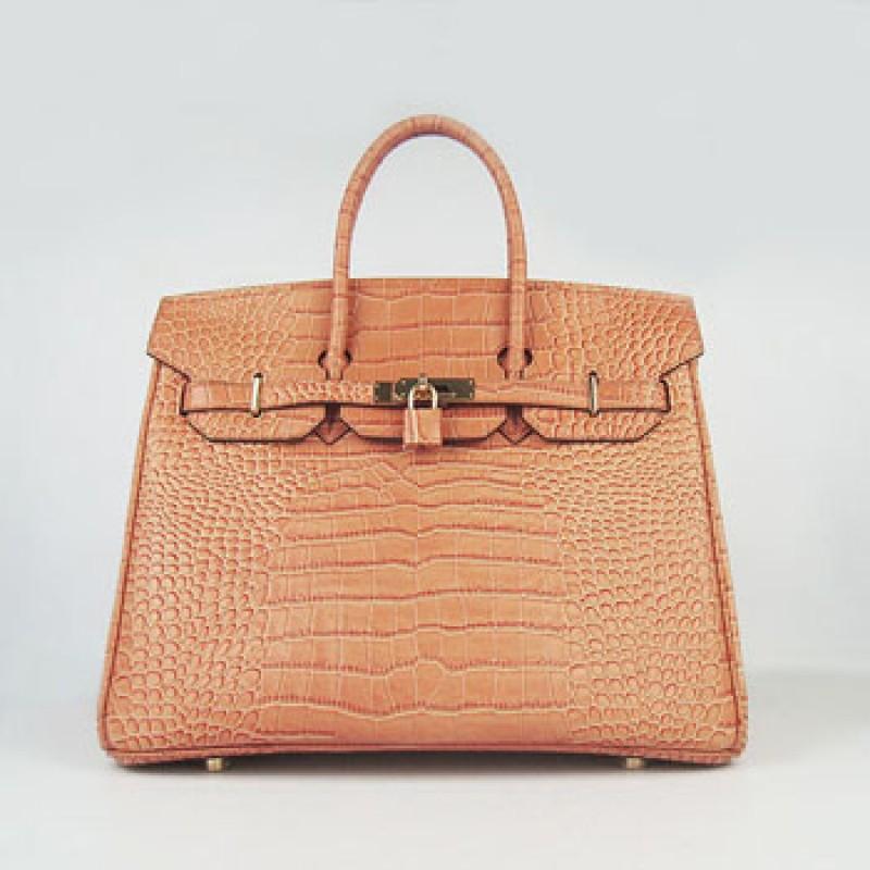 3914d8bb65 Replica Hermes Birkin 35cm Crocodile Stripe Handbags Orange Gold